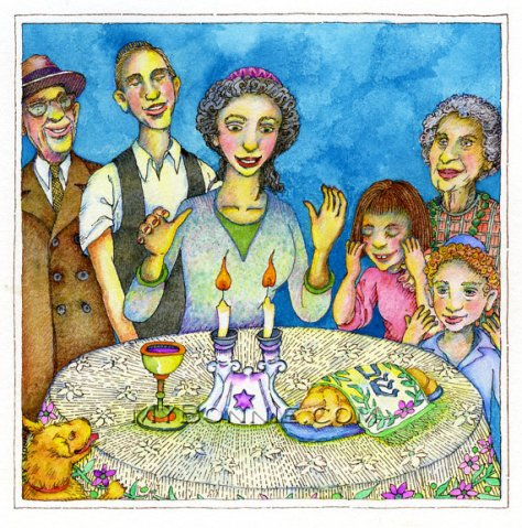 Jewish Family Celebrating Shabbat